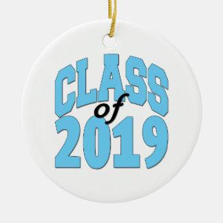 Class of 2019 blue round ceramic ornament
