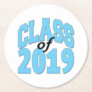 Class of 2019 blue round paper coaster