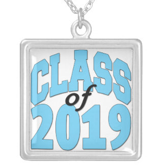 Class of 2019 blue silver plated necklace