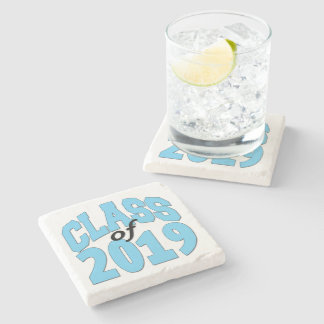 Class of 2019 blue stone beverage coaster