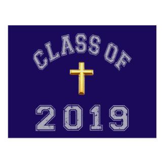 Class Of 2019 Christian Cross - Grey 2 Postcard