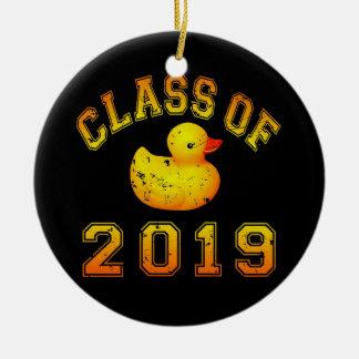 Class Of 2019 Rubber Duckie - Orange/Red 2 Round Ceramic Ornament
