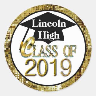 Class Of 2019 Sparkling Gold Graduation Seals Round Sticker