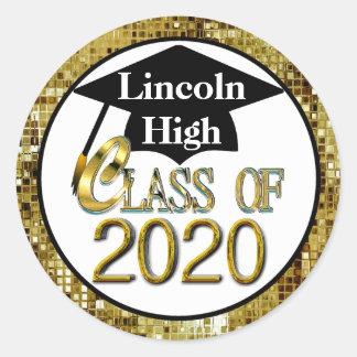 Class Of 2020 Sparkling Gold Graduation Seals Round Sticker