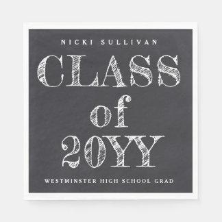 Class of 20XX chalkboard graduation napkins