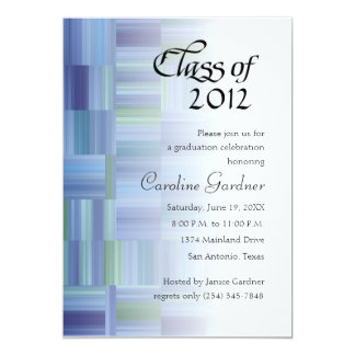 "Class of 20XX  Color Blocks and Stripes 5"" X 7"" Invitation Card"
