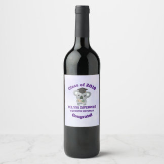 Class of 20xx Cute Koala Bear in Graduation Cap Wine Label