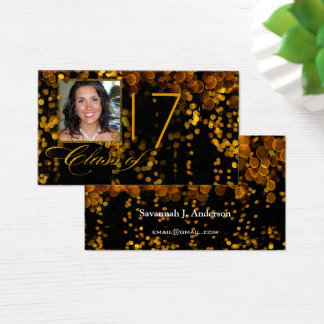 Class of Gold and Copper Graduation Photos Business Card