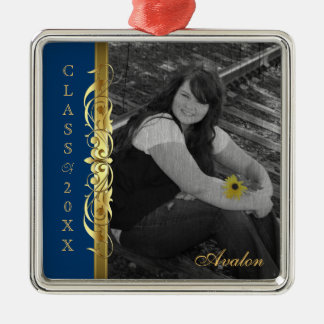 Class of Gold Scroll Photo Blue Ornament