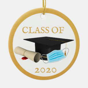 Wooden Christmas Ornament Senior 2020 Personalized Gift Diploma University High School College Square Academic Cap Class of 2020