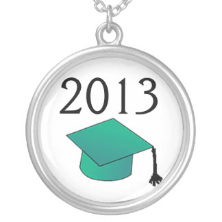 Class of Graduation Cap blue - green Silver Plated Necklace