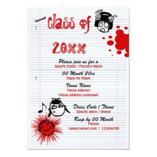 "Class of school reunion PERSONALIZE 5"" X 7"" Invitation Card"