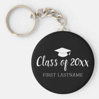 Class of Year and Name - Black Can Change Color Keychain