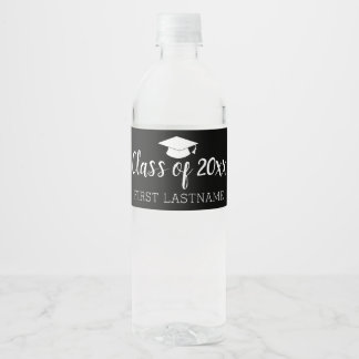 Class of Year and Name - Black Can Change Color Water Bottle Label