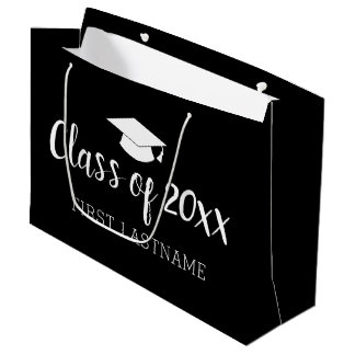 Class of Year and Name - Black Can Change Colour Large Gift Bag