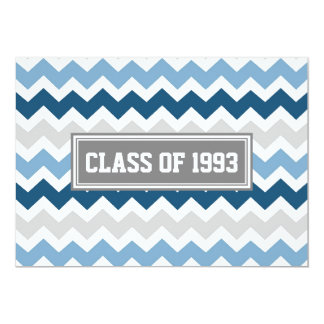 Class Reunion Invitations Gray Blue Chevron
