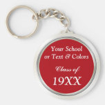 Class Reunion Souvenirs, School Name, Year, Basic Round Button Keychain