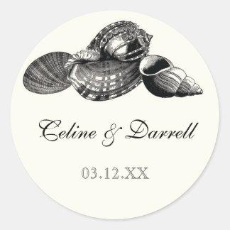 Class Shells Black n Cream Wedding Sticker or Seal
