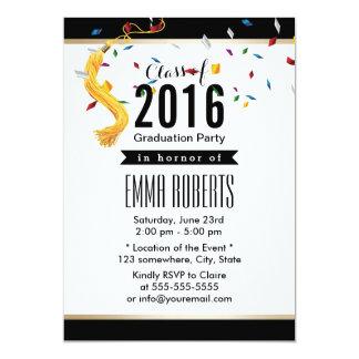 Classe de la fête de remise des diplômes 2016 carton d'invitation  12,7 cm x 17,78 cm