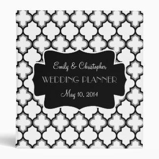 Classeur chic de mariage de gris noir, blanc et ar