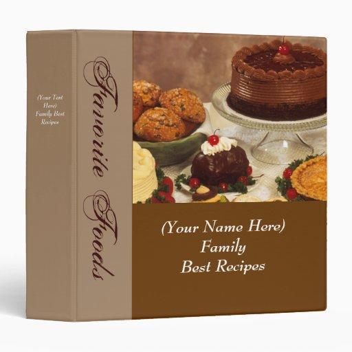 Classeur personnalisé de nourriture de recette ou