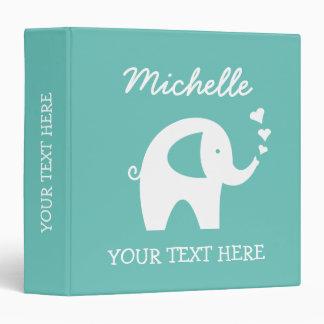 Classeur personnalisé de turquoise avec l'éléphant