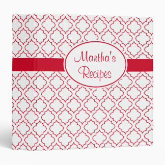 Classeur rouge et blanc personnalisé de recette