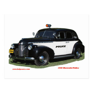 Classic_1940_Chevrolet_Police_Texturized Postcard