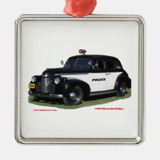 Classic_1940_Chevrolet_Police_Texturized Silver-Colored Square Ornament