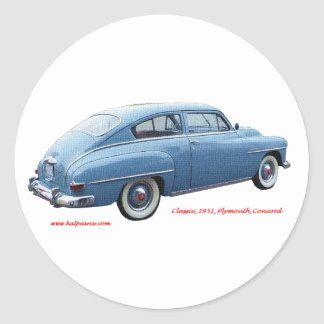 Classic_1951_Plymouth_Concord_Texturized Classic Round Sticker