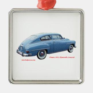 Classic_1951_Plymouth_Concord_Texturized Silver-Colored Square Ornament