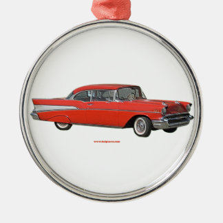 Classic_1957_Chevrolet_Red_texturizer Metal Ornament