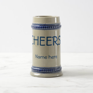 """Classic 22 ounce """"CHEERS!"""" beer stein. Customize! Beer Stein"""