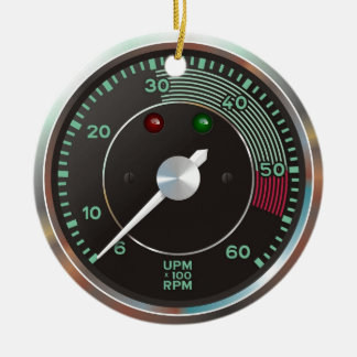 Classic 356 rev counter, old air-cooled sports car ceramic ornament