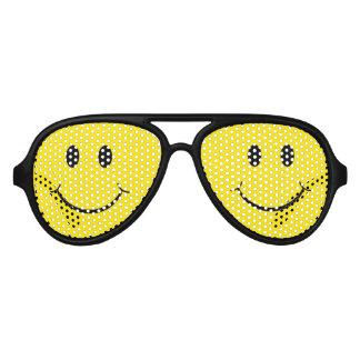 Classic 70's Yellow Smiley Happy Face Aviator Sunglasses