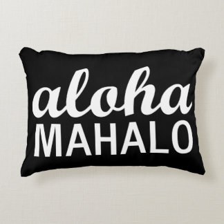Classic Aloha Mahalo Typography Hawaii Decorative Pillow