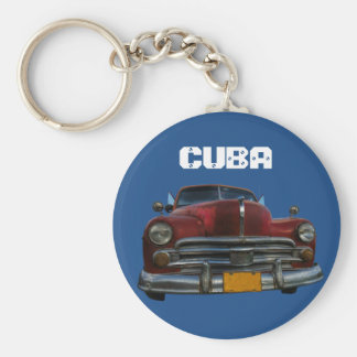 Classic American car in Vinales, Cuba Keychain