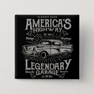 Classic American Muscle Car | Hotrod's Highway 2 Inch Square Button