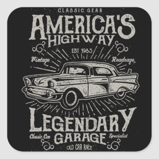 Classic American Muscle Car | Hotrod's Highway Square Sticker