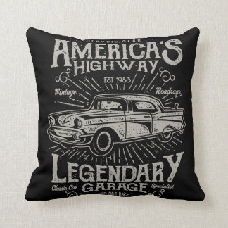 Classic American Muscle Car | Hotrod's Highway Throw Pillow