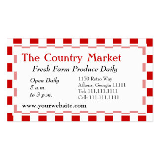 Classic American Red and White Farm House Gingham Business Cards