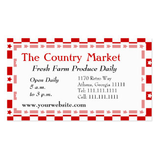 Classic American Red and White Farm House Gingham Business Card Templates