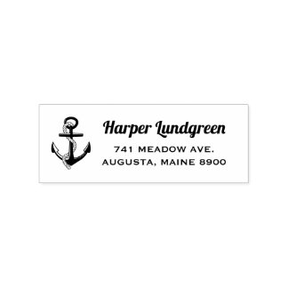 Classic Anchor Nautical Custom Return Address Rubber Stamp
