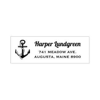 Classic Anchor Nautical Custom Self Inking Stamp