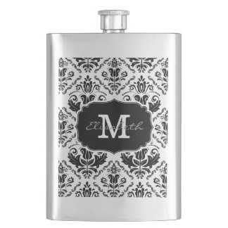 Classic and Chic Black White Damask Monogram Name Hip Flask