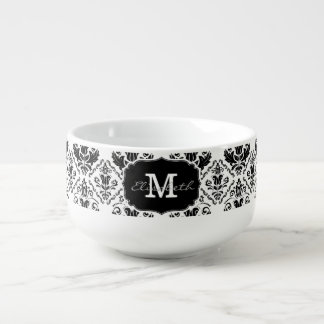 Classic and Chic Black White Damask Monogram Name Soup Mug