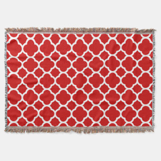 Classic and Elegant Red Quatrefoil pattern Throw Blanket