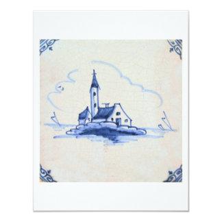 Classic Antiquarian Delft Blue Tile - Church 4.25x5.5 Paper Invitation Card