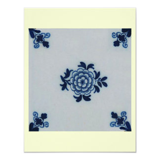 "Classic Antiquarian Delft Blue Tile - Floral Motif 4.25"" X 5.5"" Invitation Card"