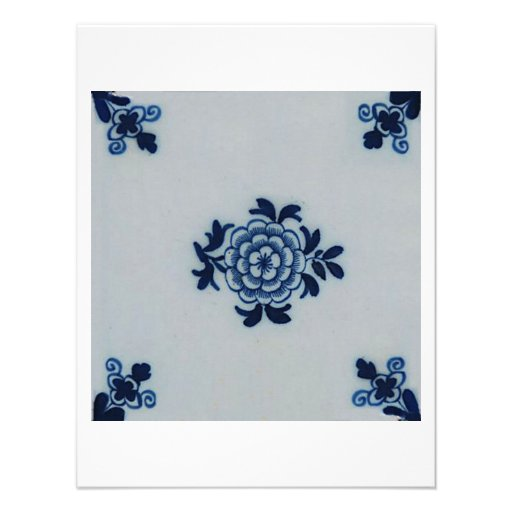 Classic Antiquarian Delft Blue Tile - Floral Motif Custom Announcement